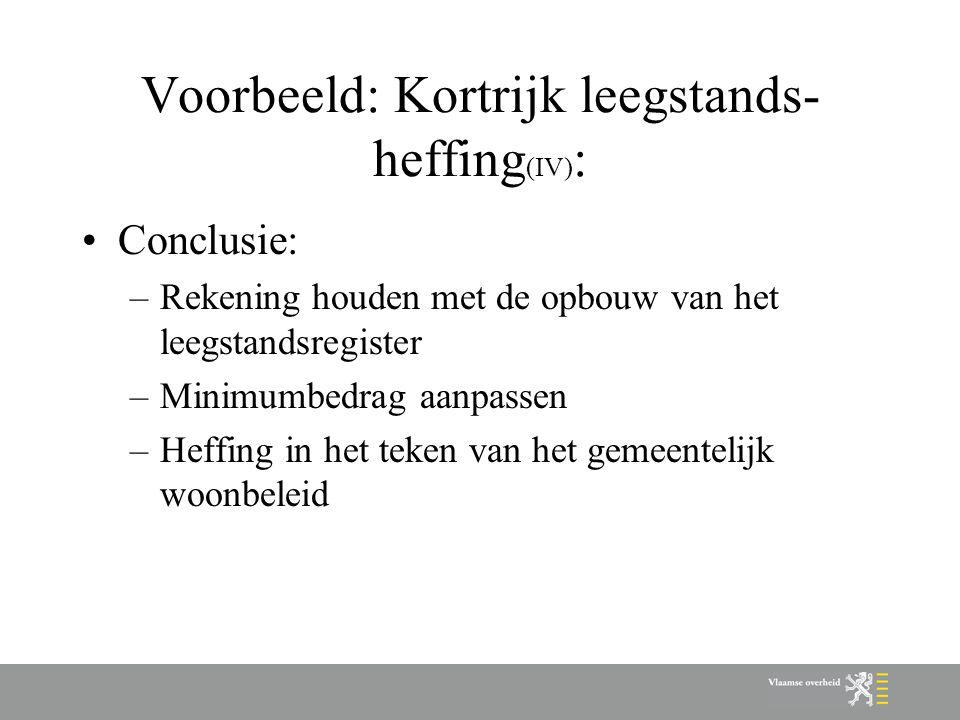Voorbeeld: Kortrijk leegstands- heffing (IV) : Conclusie: –Rekening houden met de opbouw van het leegstandsregister –Minimumbedrag aanpassen –Heffing in het teken van het gemeentelijk woonbeleid