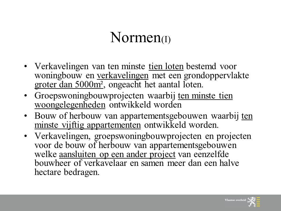 Voorbeeld: sociaal objectief + normen Torhout (V) Stap 6: –Bereiken van het sociaal objectief (=156 of 1.91%) => bijkomende woningen door woonbeleidsconvenanten.