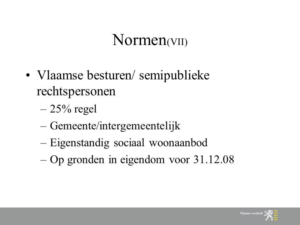 Normen (VII) Vlaamse besturen/ semipublieke rechtspersonen –25% regel –Gemeente/intergemeentelijk –Eigenstandig sociaal woonaanbod –Op gronden in eigendom voor 31.12.08