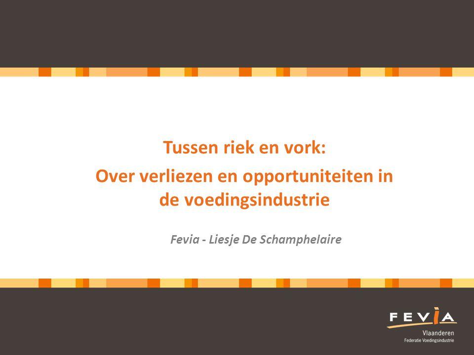 2 De voedingsindustrie Belgische voedingsindustrie Verwerking en verpakking tot Bulkproducten en ingrediënten Afgewerkte producten > 5000 bedrijven, sterke KMO-sector Ca.