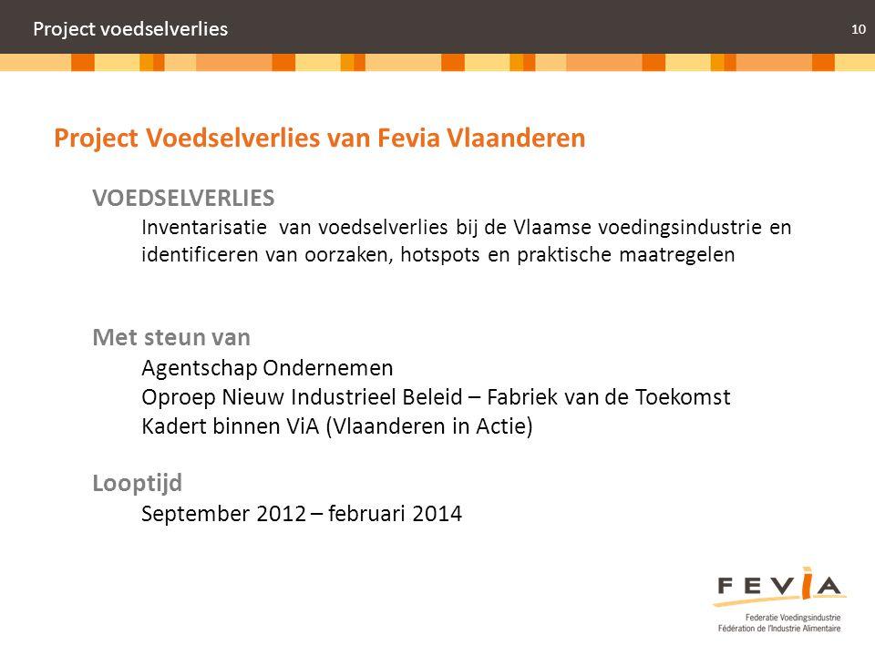 10 Project voedselverlies Project Voedselverlies van Fevia Vlaanderen VOEDSELVERLIES Inventarisatie van voedselverlies bij de Vlaamse voedingsindustri