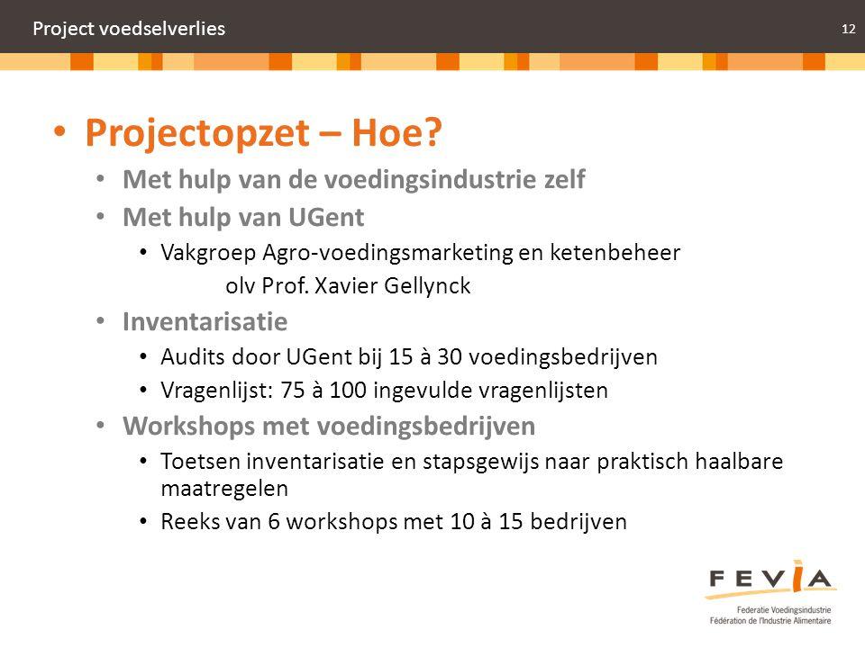 12 Project voedselverlies Projectopzet – Hoe? Met hulp van de voedingsindustrie zelf Met hulp van UGent Vakgroep Agro-voedingsmarketing en ketenbeheer