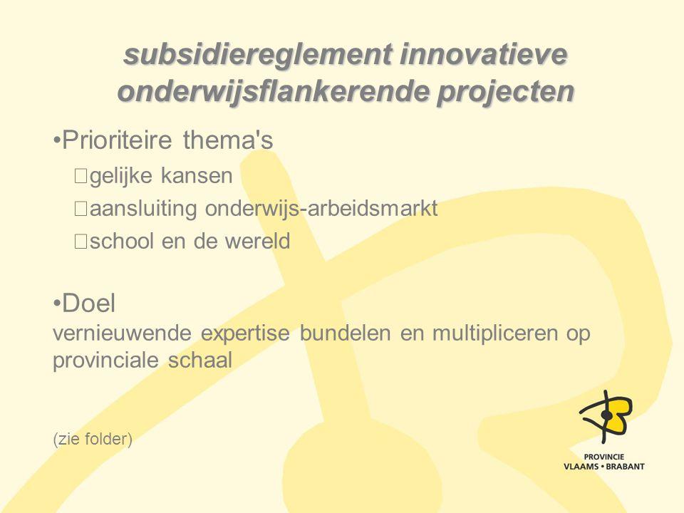 Prioriteire thema's gelijke kansen aansluiting onderwijs-arbeidsmarkt school en de wereld Doel vernieuwende expertise bundelen en multipliceren op pro