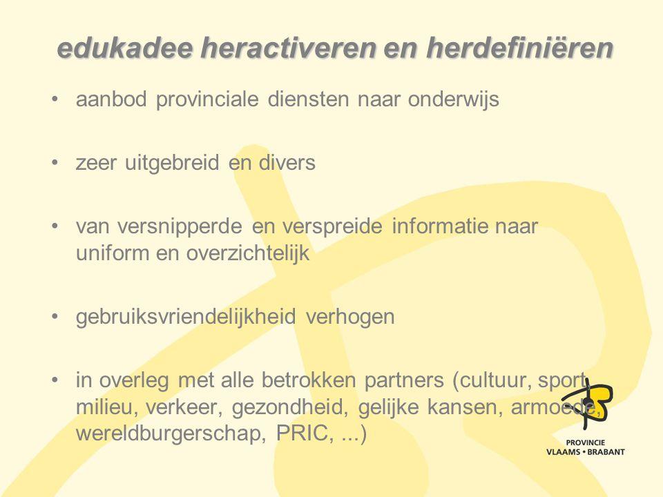 aanbod provinciale diensten naar onderwijs zeer uitgebreid en divers van versnipperde en verspreide informatie naar uniform en overzichtelijk gebruiks