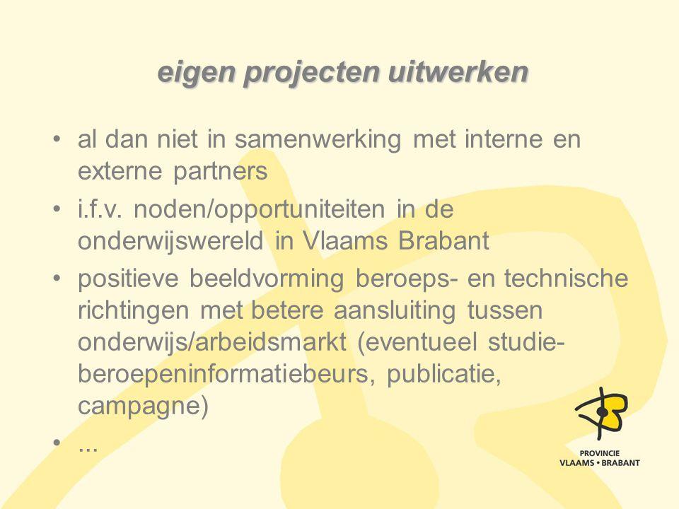 eigen projecten uitwerken al dan niet in samenwerking met interne en externe partners i.f.v. noden/opportuniteiten in de onderwijswereld in Vlaams Bra