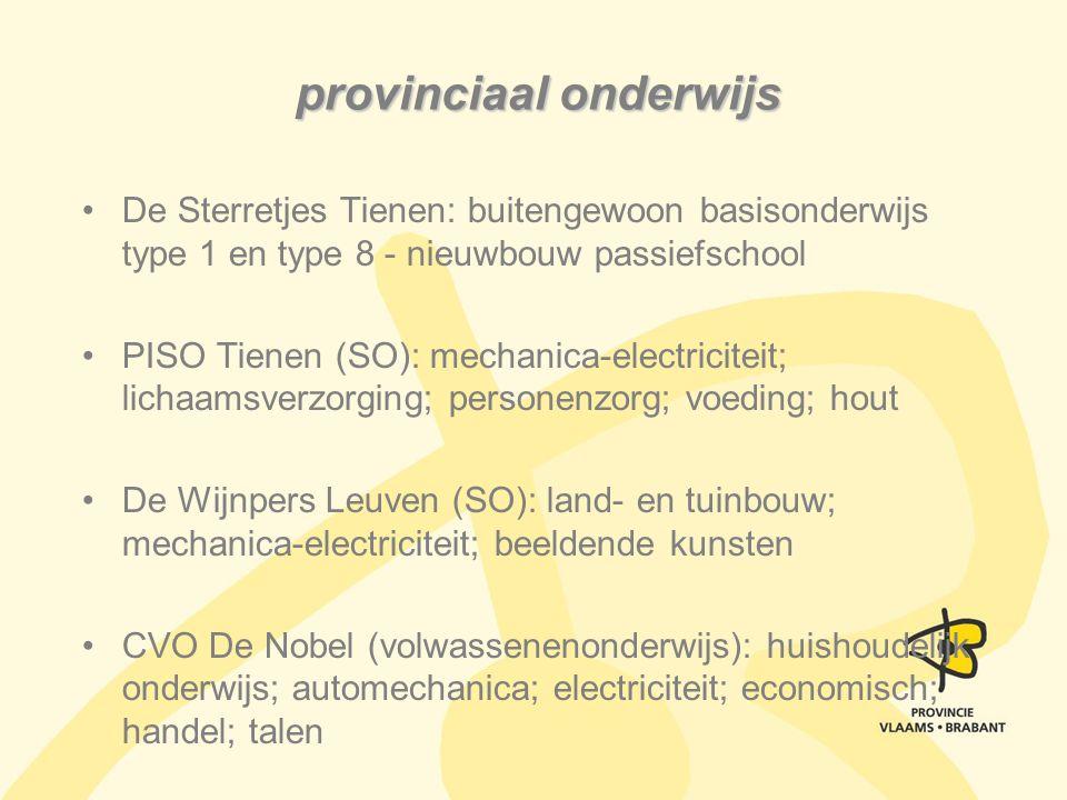 provinciaal onderwijs De Sterretjes Tienen: buitengewoon basisonderwijs type 1 en type 8 - nieuwbouw passiefschool PISO Tienen (SO): mechanica-electri