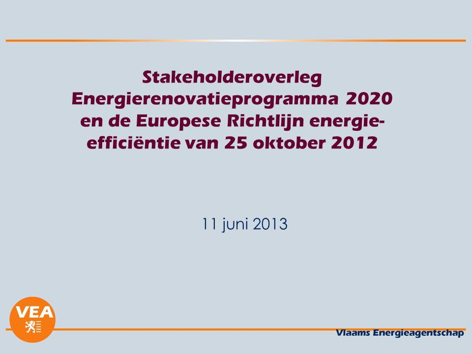 Stakeholderoverleg Energierenovatieprogramma 2020 en de Europese Richtlijn energie- efficiëntie van 25 oktober 2012 11 juni 2013