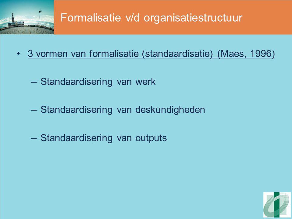 Het managementsysteem (2)  De organische organisatie ('levend organisme') -Openheid voor buitenwereld -Flexibel management -Lerende organisatie, ontwikkelingsregime -Integratie van planning, uitvoering en controle -Integratie staf- en lijnfuncties en concentratie op kernactiviteiten (generieke arbeid) -Pro-actieve strategievorming van het management (korte en lange termijn denken) -Flexibel en kwalitatief hoogstaand personeel -Motivatie en ontwikkeling van personeel -Outputgericht controlesysteem (via laterale en zelfcontrole)
