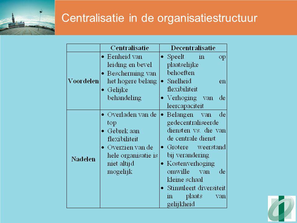 5 modellen van organisaties Lijnstructuur -Hiërarchie -Eenheid van leiding -Grote mate van standaardisatie van werk, vaardigheden en van specialisatie -Scheiding tussen planning, uitvoering en controle -Verticale communicatie Lijn-stafstructuur -Grote lijnorganisatie > toename taakbelasting lijnmanagement -Staffunctie voor steun aan lijnmanagement nodig -Staf heeft geen lijnbevoegdheid