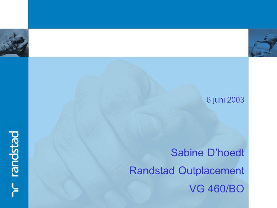 6 juni 2003 Sabine D'hoedt Randstad Outplacement VG 460/BO