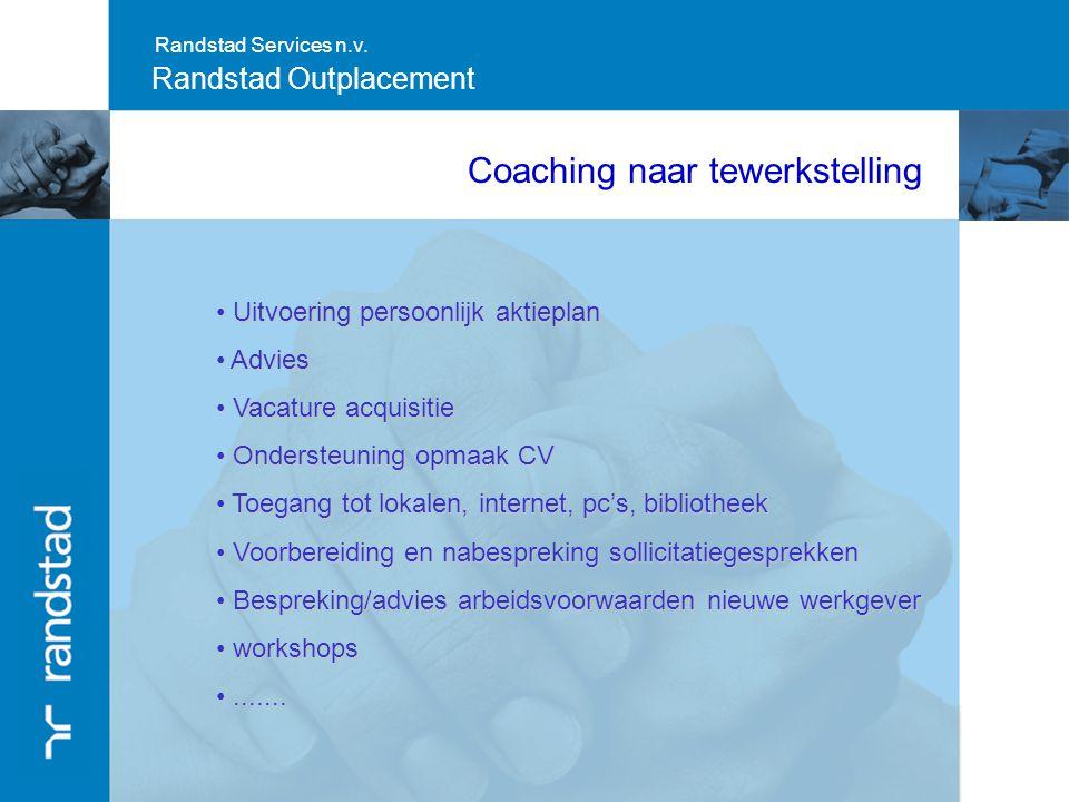 Randstad Services n.v. Randstad Outplacement Coaching naar tewerkstelling Uitvoering persoonlijk aktieplan Uitvoering persoonlijk aktieplan Advies Adv