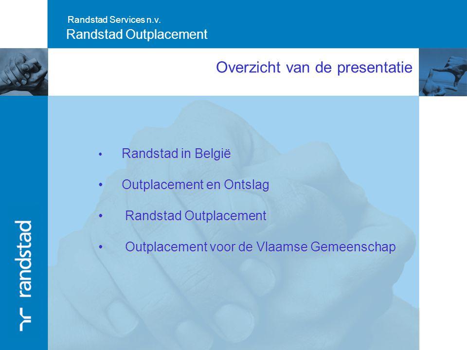 Randstad Services n.v. Randstad Outplacement Overzicht van de presentatie Randstad in België Randstad in België Outplacement en Ontslag Outplacement e