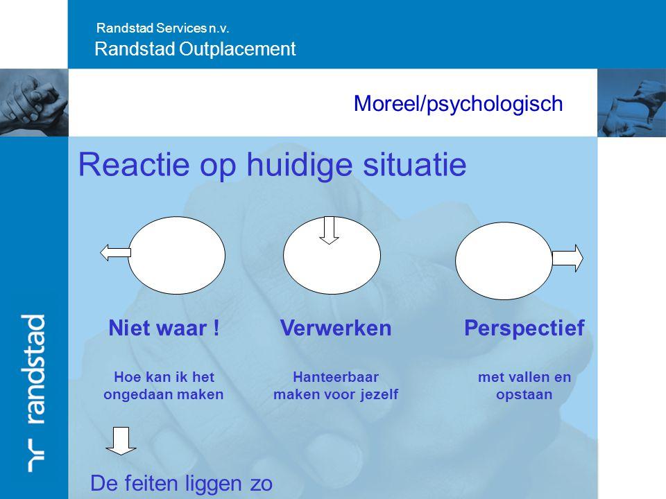 Randstad Services n.v. Randstad Outplacement Moreel/psychologisch Reactie op huidige situatie Niet waar ! Hoe kan ik het ongedaan maken Verwerken Hant