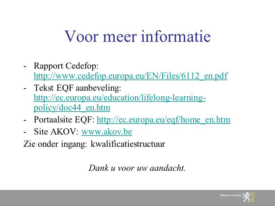 Voor meer informatie -Rapport Cedefop: http://www.cedefop.europa.eu/EN/Files/6112_en.pdf http://www.cedefop.europa.eu/EN/Files/6112_en.pdf -Tekst EQF