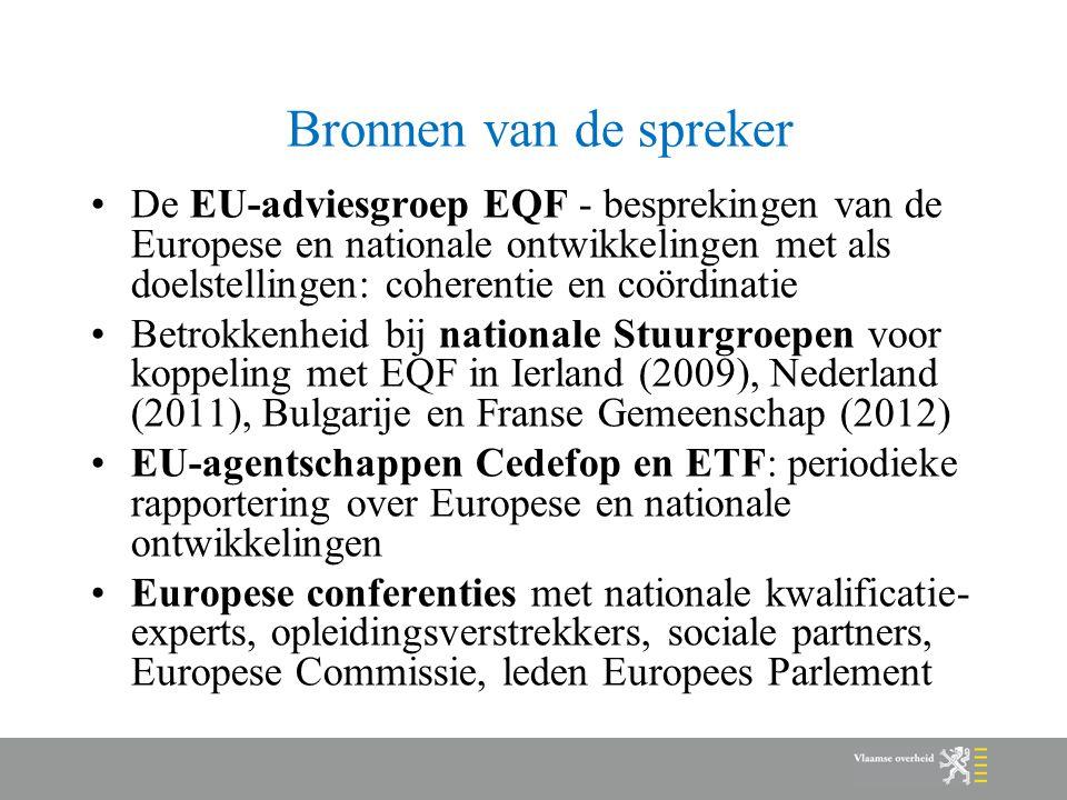 Bronnen van de spreker De EU-adviesgroep EQF - besprekingen van de Europese en nationale ontwikkelingen met als doelstellingen: coherentie en coördina
