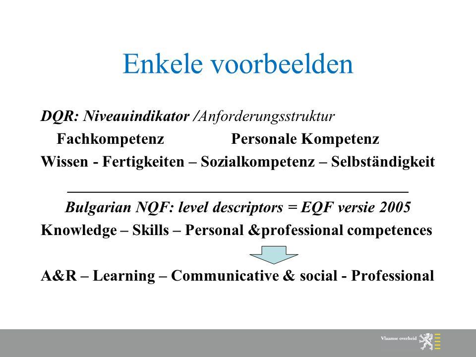 Enkele voorbeelden DQR: Niveauindikator /Anforderungsstruktur Fachkompetenz Personale Kompetenz Wissen - Fertigkeiten – Sozialkompetenz – Selbständigkeit ___________________________________________ Bulgarian NQF: level descriptors = EQF versie 2005 Knowledge – Skills – Personal &professional competences A&R – Learning – Communicative & social - Professional