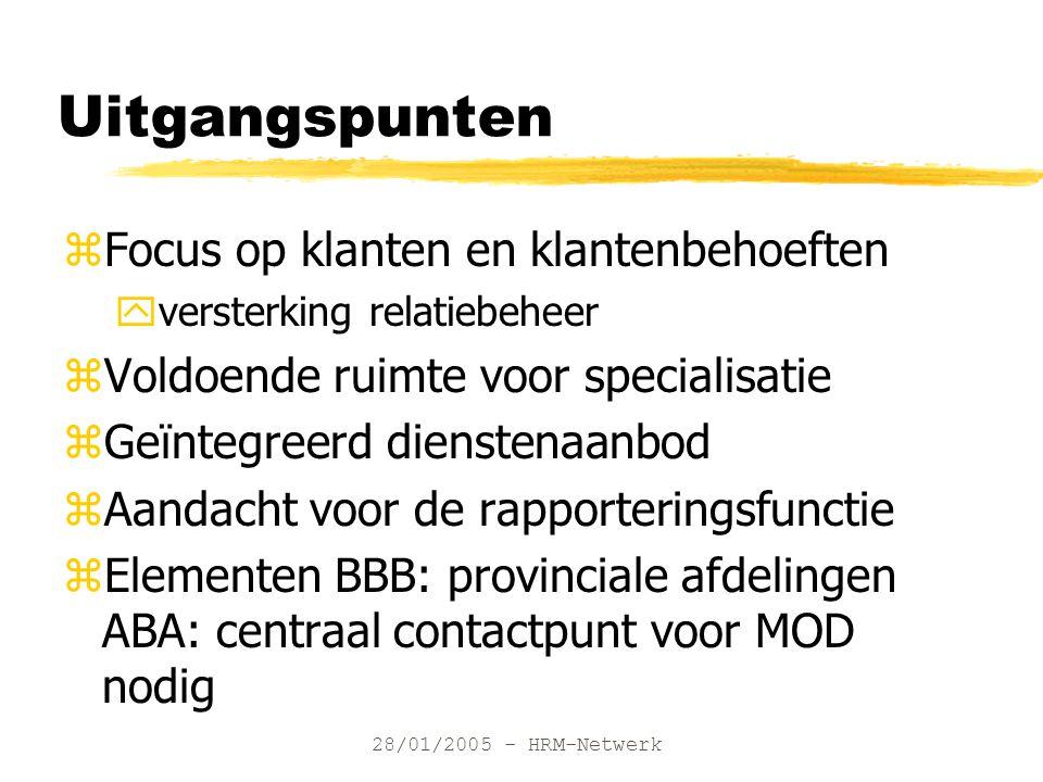 28/01/2005 - HRM-Netwerk Uitgangspunten zFocus op klanten en klantenbehoeften yversterking relatiebeheer zVoldoende ruimte voor specialisatie zGeïnteg