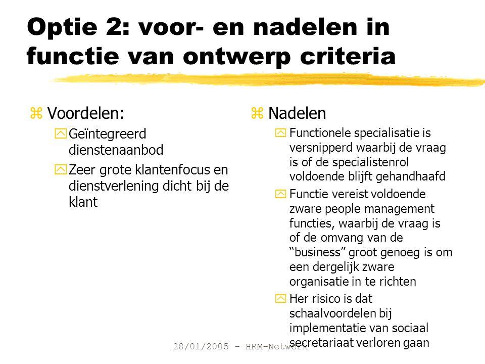 28/01/2005 - HRM-Netwerk Optie 2: voor- en nadelen in functie van ontwerp criteria zVoordelen: yGeïntegreerd dienstenaanbod yZeer grote klantenfocus e