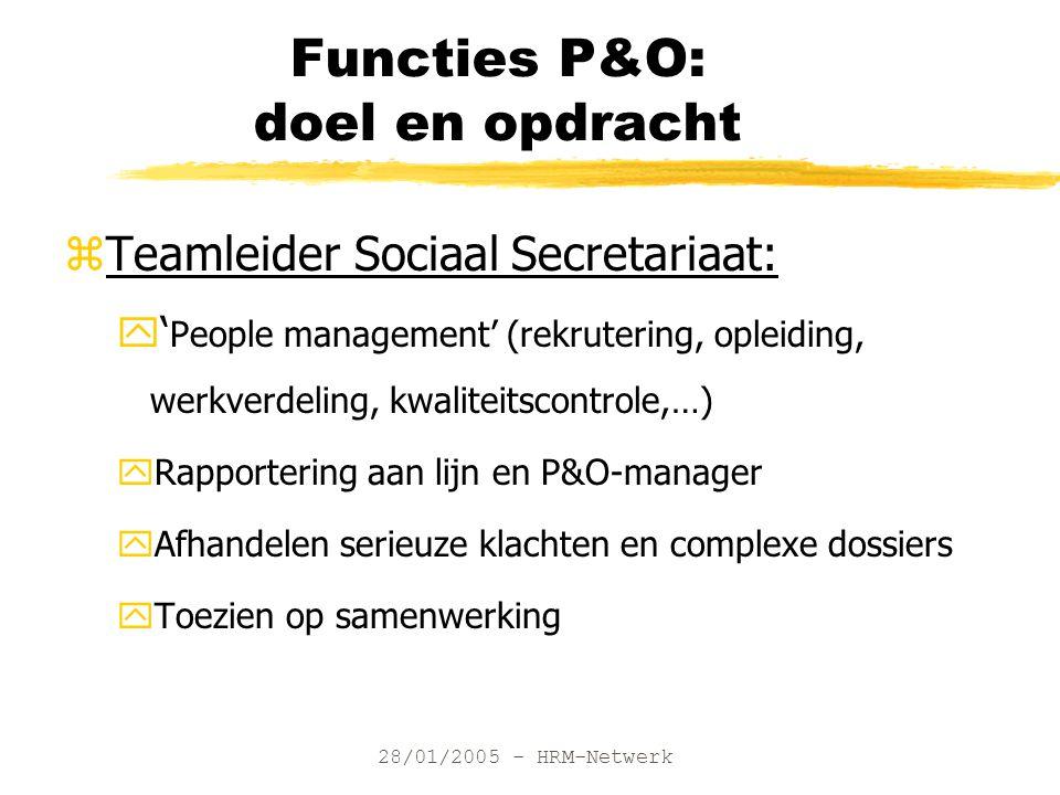 28/01/2005 - HRM-Netwerk Functies P&O: doel en opdracht zTeamleider Sociaal Secretariaat: y' People management' (rekrutering, opleiding, werkverdeling