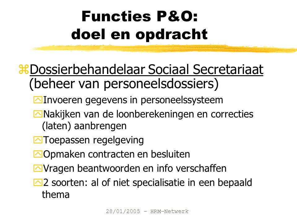 28/01/2005 - HRM-Netwerk Functies P&O: doel en opdracht zDossierbehandelaar Sociaal Secretariaat (beheer van personeelsdossiers) yInvoeren gegevens in