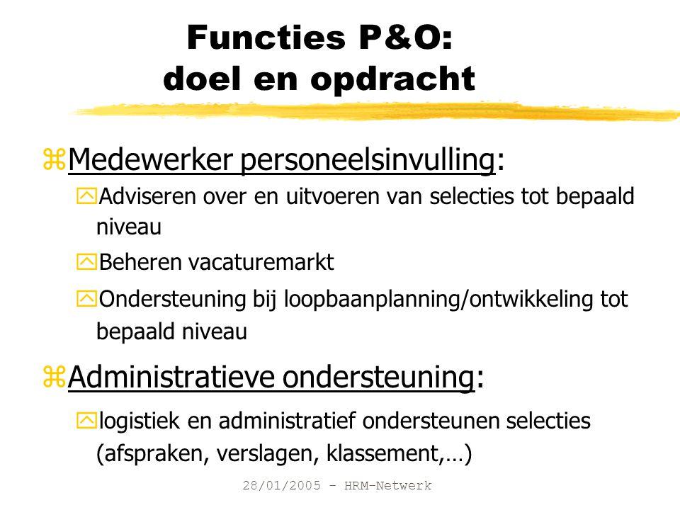 28/01/2005 - HRM-Netwerk Functies P&O: doel en opdracht zMedewerker personeelsinvulling: yAdviseren over en uitvoeren van selecties tot bepaald niveau