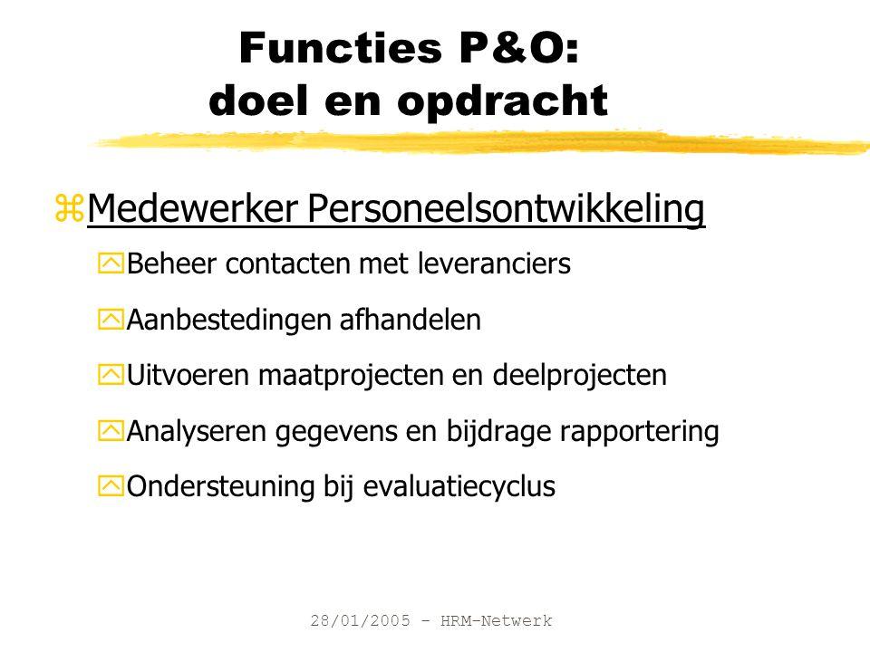 28/01/2005 - HRM-Netwerk Functies P&O: doel en opdracht zMedewerker Personeelsontwikkeling yBeheer contacten met leveranciers yAanbestedingen afhandel