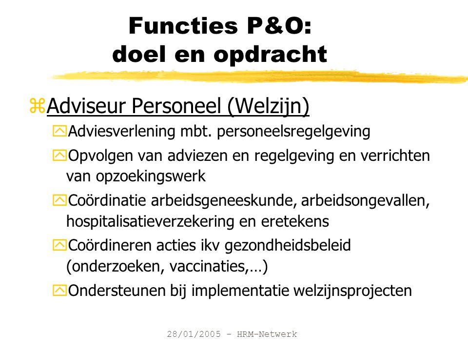 28/01/2005 - HRM-Netwerk Functies P&O: doel en opdracht zAdviseur Personeel (Welzijn) yAdviesverlening mbt. personeelsregelgeving yOpvolgen van adviez
