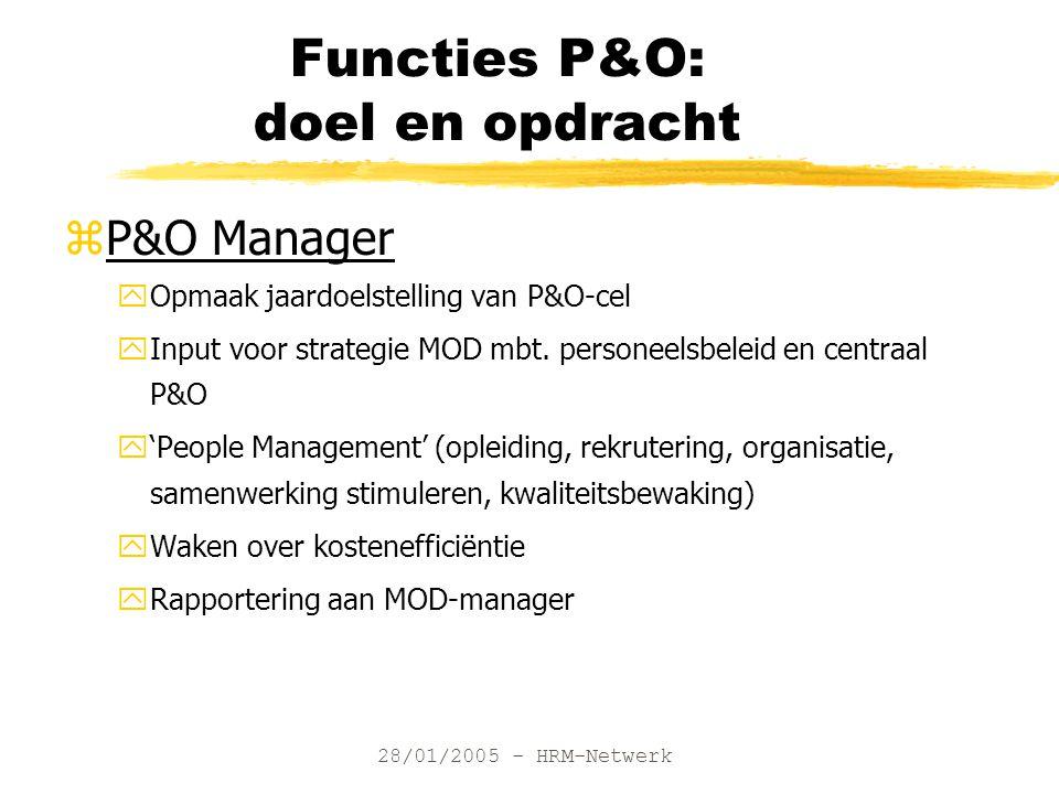 28/01/2005 - HRM-Netwerk Functies P&O: doel en opdracht zP&O Manager yOpmaak jaardoelstelling van P&O-cel yInput voor strategie MOD mbt.
