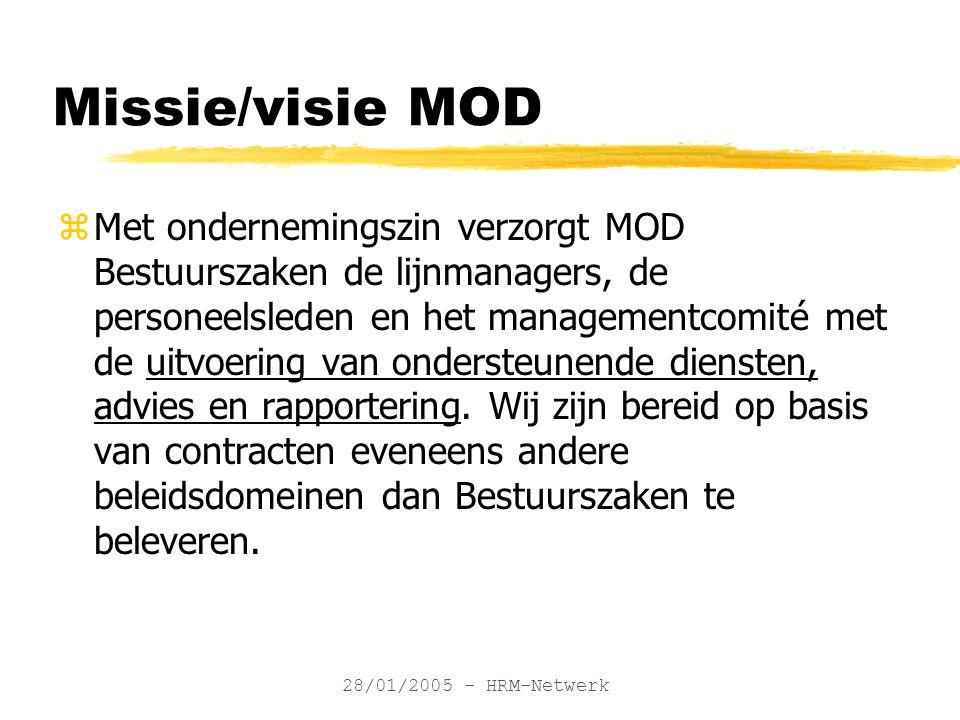 28/01/2005 - HRM-Netwerk Missie/visie MOD zMet ondernemingszin verzorgt MOD Bestuurszaken de lijnmanagers, de personeelsleden en het managementcomité met de uitvoering van ondersteunende diensten, advies en rapportering.