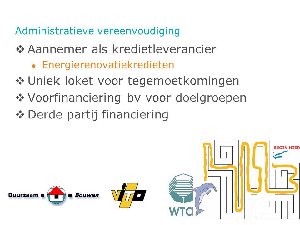 Administratieve vereenvoudiging  Aannemer als kredietleverancier Energierenovatiekredieten  Uniek loket voor tegemoetkomingen  Voorfinanciering bv
