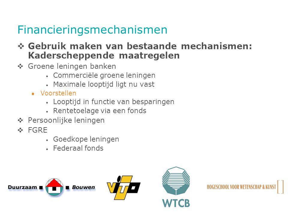 Financieringsmechanismen  Gebruik maken van bestaande mechanismen: Kaderscheppende maatregelen  Groene leningen banken Commerciële groene leningen M