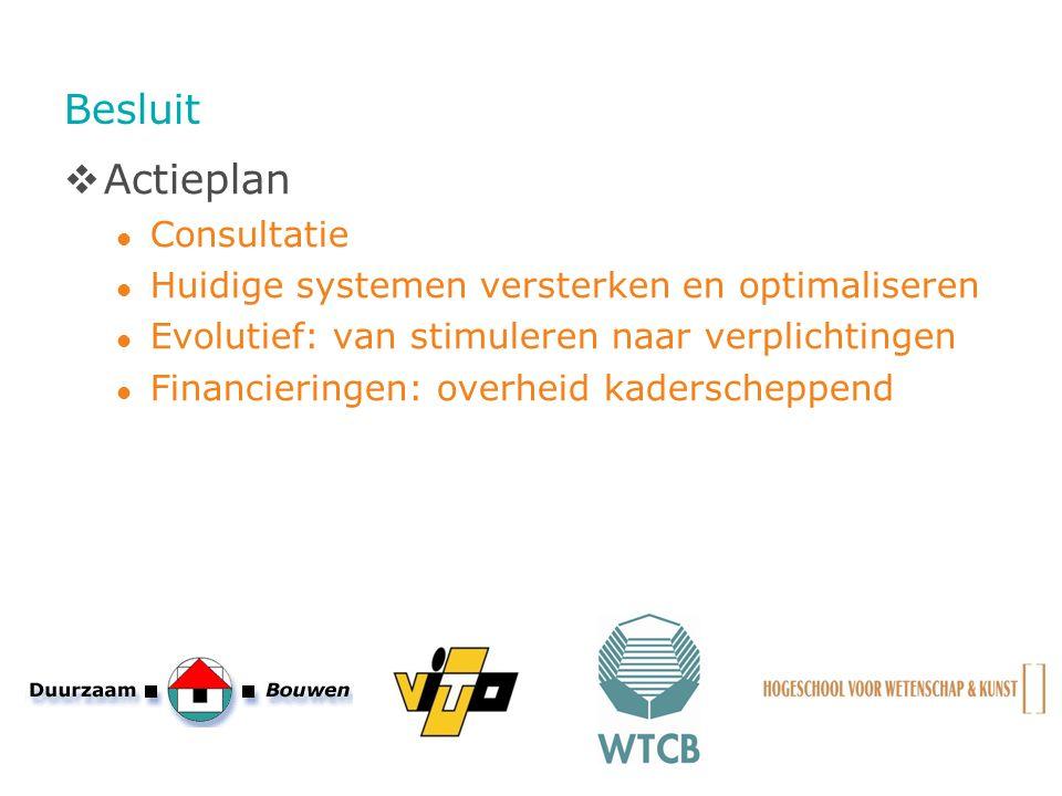 Besluit  Actieplan Consultatie Huidige systemen versterken en optimaliseren Evolutief: van stimuleren naar verplichtingen Financieringen: overheid ka