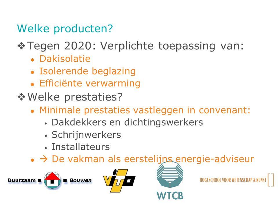 Welke producten?  Tegen 2020: Verplichte toepassing van: Dakisolatie Isolerende beglazing Efficiënte verwarming  Welke prestaties? Minimale prestati