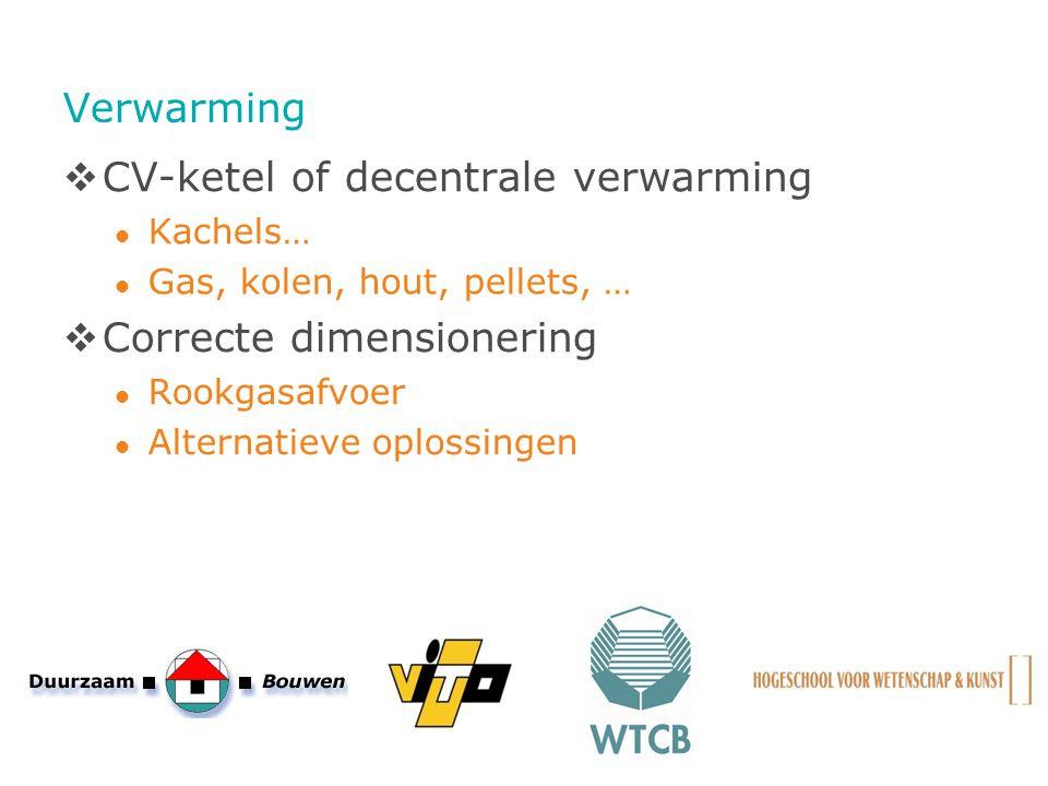 Verwarming  CV-ketel of decentrale verwarming Kachels… Gas, kolen, hout, pellets, …  Correcte dimensionering Rookgasafvoer Alternatieve oplossingen