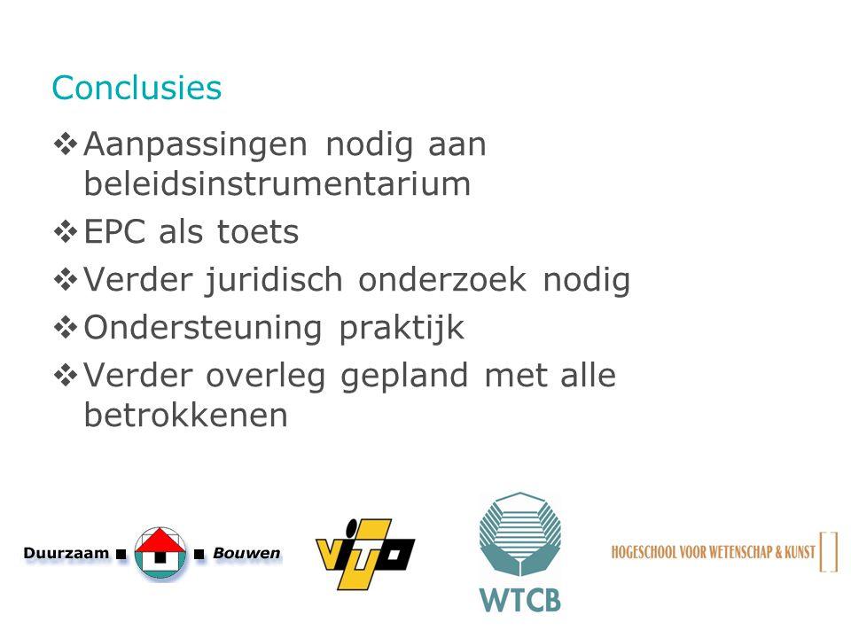 Conclusies  Aanpassingen nodig aan beleidsinstrumentarium  EPC als toets  Verder juridisch onderzoek nodig  Ondersteuning praktijk  Verder overle