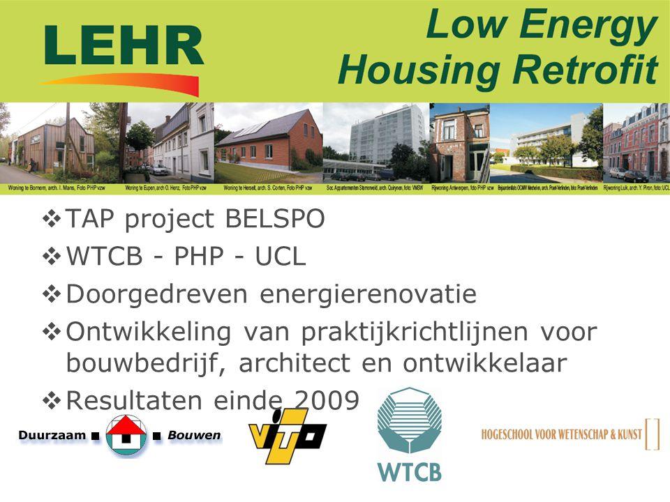  TAP project BELSPO  WTCB - PHP - UCL  Doorgedreven energierenovatie  Ontwikkeling van praktijkrichtlijnen voor bouwbedrijf, architect en ontwikke