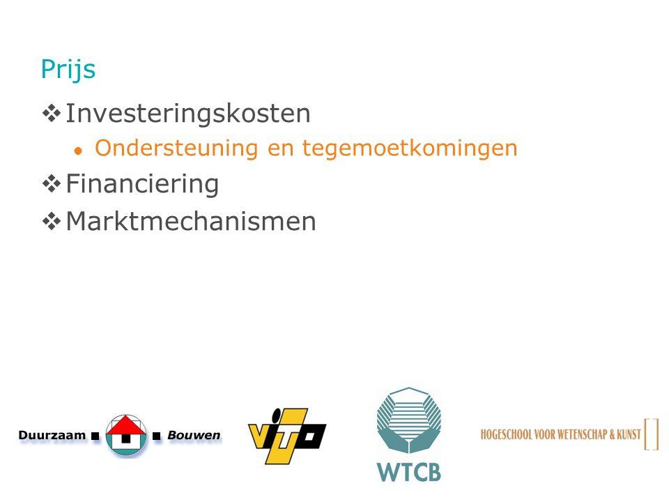 Prijs  Investeringskosten Ondersteuning en tegemoetkomingen  Financiering  Marktmechanismen
