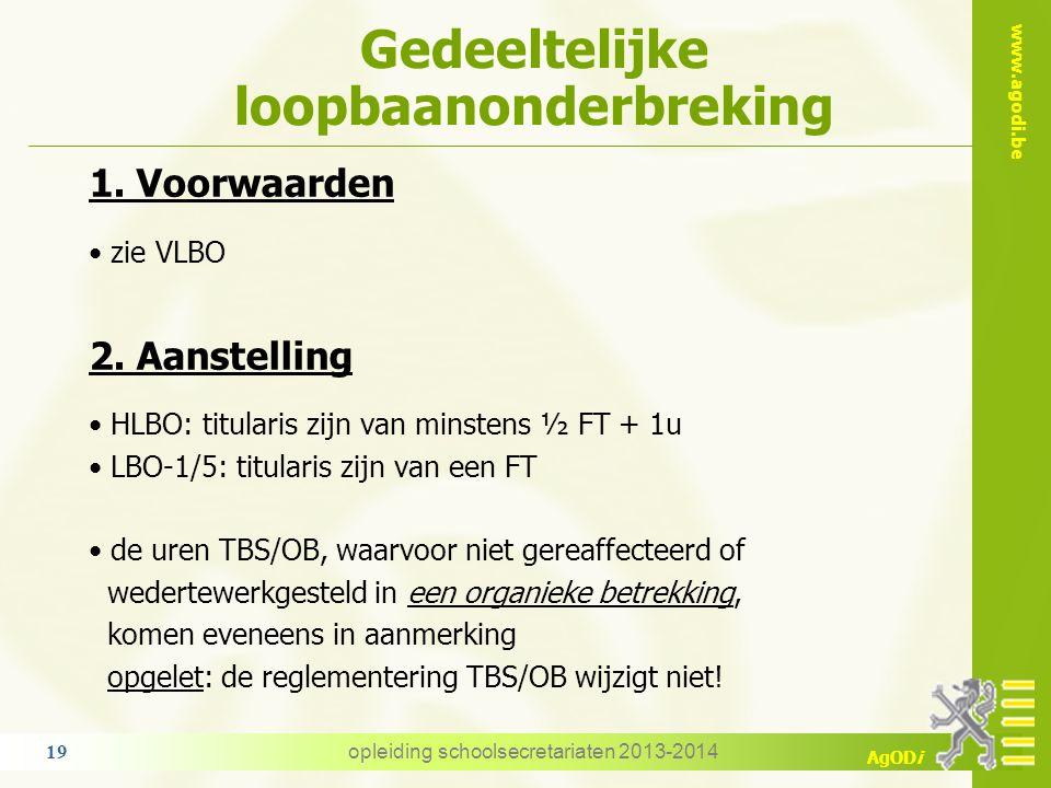www.agodi.be AgODi Gedeeltelijke loopbaanonderbreking 1. Voorwaarden zie VLBO 2. Aanstelling HLBO: titularis zijn van minstens ½ FT + 1u LBO-1/5: titu
