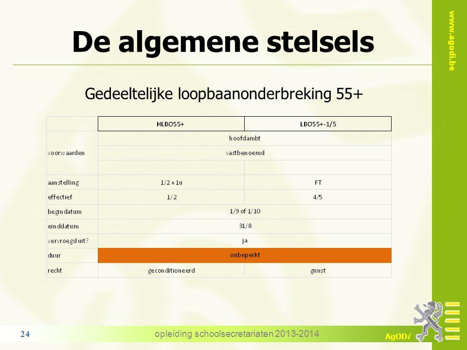 www.agodi.be AgODi De algemene stelsels Gedeeltelijke loopbaanonderbreking 55+ opleiding schoolsecretariaten 2013-2014 24
