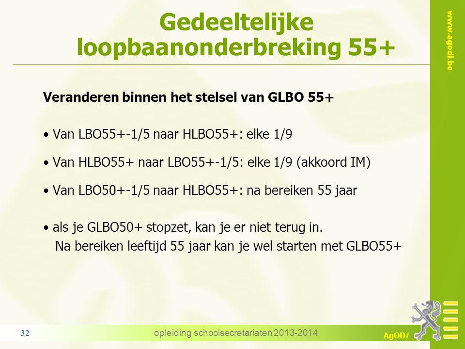 www.agodi.be AgODi Gedeeltelijke loopbaanonderbreking 55+ Veranderen binnen het stelsel van GLBO 55+ Van LBO55+-1/5 naar HLBO55+: elke 1/9 Van HLBO55+