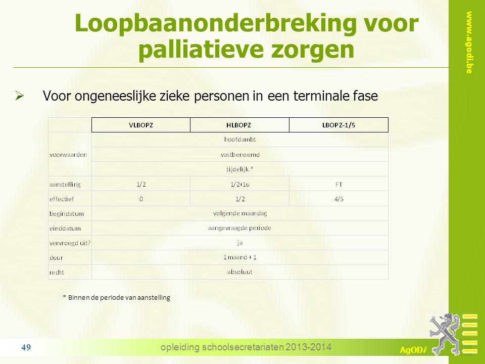 www.agodi.be AgODi Loopbaanonderbreking voor palliatieve zorgen opleiding schoolsecretariaten 2013-2014 49  Voor ongeneeslijke zieke personen in een