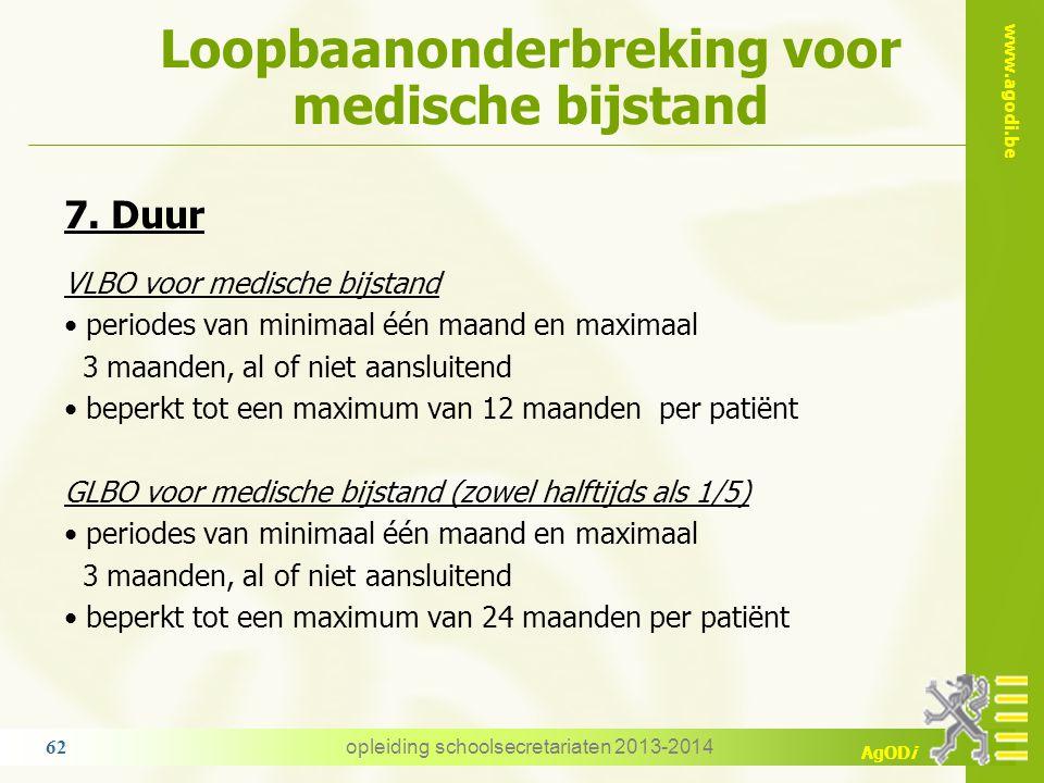 www.agodi.be AgODi Loopbaanonderbreking voor medische bijstand opleiding schoolsecretariaten 2013-2014 62 7. Duur VLBO voor medische bijstand periodes