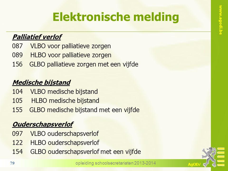 www.agodi.be AgODi Elektronische melding opleiding schoolsecretariaten 2013-2014 79 Palliatief verlof 087 VLBO voor palliatieve zorgen 089 HLBO voor p