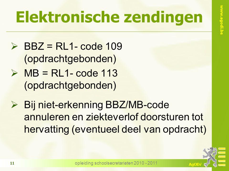 www.agodi.be AgODi opleiding schoolsecretariaten 2010 - 2011 11 Elektronische zendingen  BBZ = RL1- code 109 (opdrachtgebonden)  MB = RL1- code 113