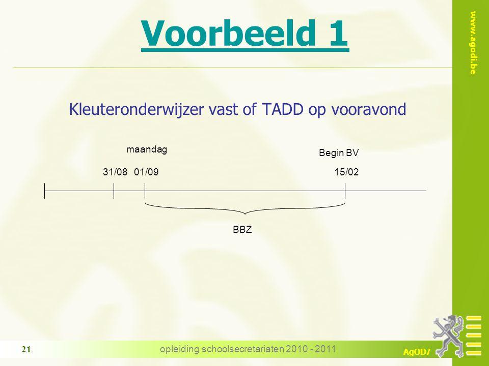 www.agodi.be AgODi opleiding schoolsecretariaten 2010 - 2011 21 Voorbeeld 1 Kleuteronderwijzer vast of TADD op vooravond BBZ 01/0915/02 Begin BV maandag 31/08