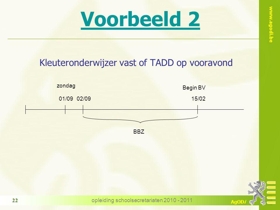 www.agodi.be AgODi opleiding schoolsecretariaten 2010 - 2011 22 Voorbeeld 2 Kleuteronderwijzer vast of TADD op vooravond BBZ 02/0915/02 Begin BV zondag 01/09