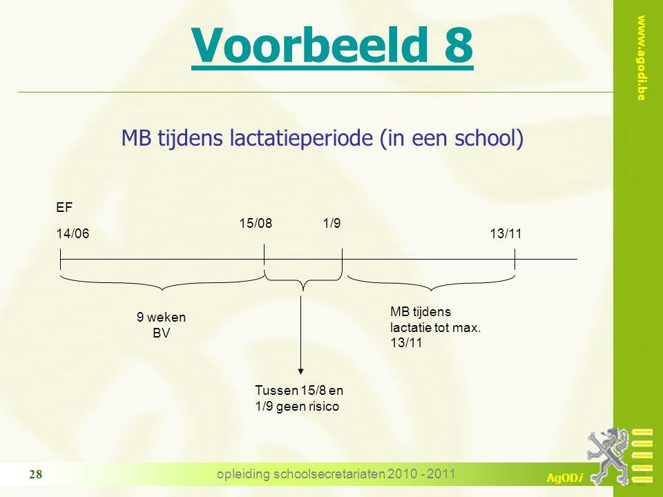 www.agodi.be AgODi opleiding schoolsecretariaten 2010 - 2011 28 Voorbeeld 8 MB tijdens lactatieperiode (in een school) 9 weken BV 14/06 EF 1/9 MB tijdens lactatie tot max.
