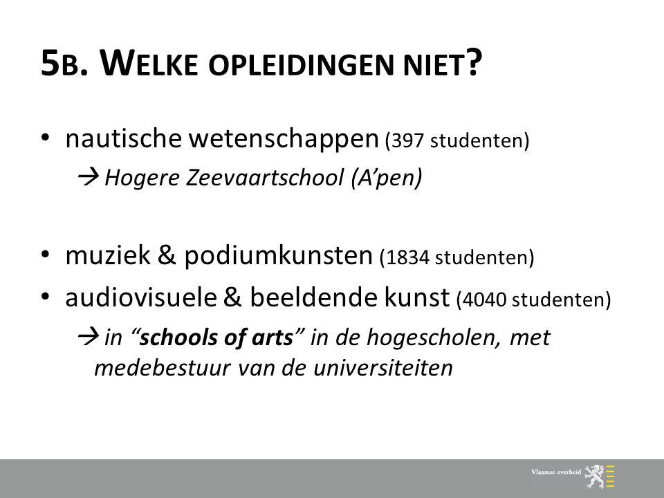 5 B. W ELKE OPLEIDINGEN NIET ? nautische wetenschappen (397 studenten)  Hogere Zeevaartschool (A'pen) muziek & podiumkunsten (1834 studenten) audiovi
