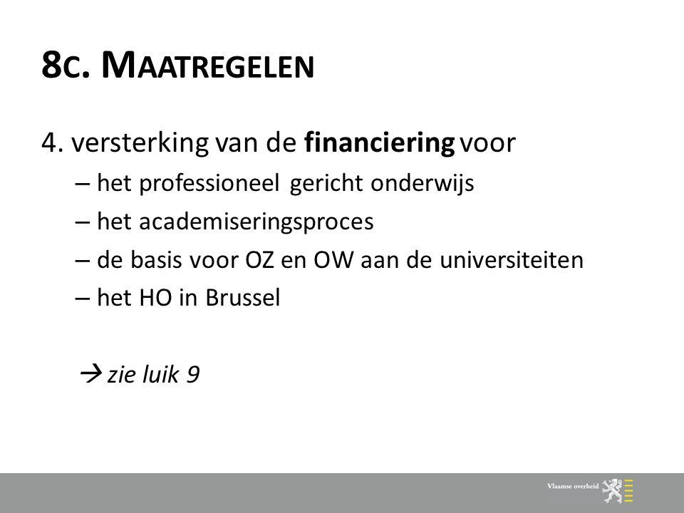 8 C. M AATREGELEN 4. versterking van de financiering voor – het professioneel gericht onderwijs – het academiseringsproces – de basis voor OZ en OW aa