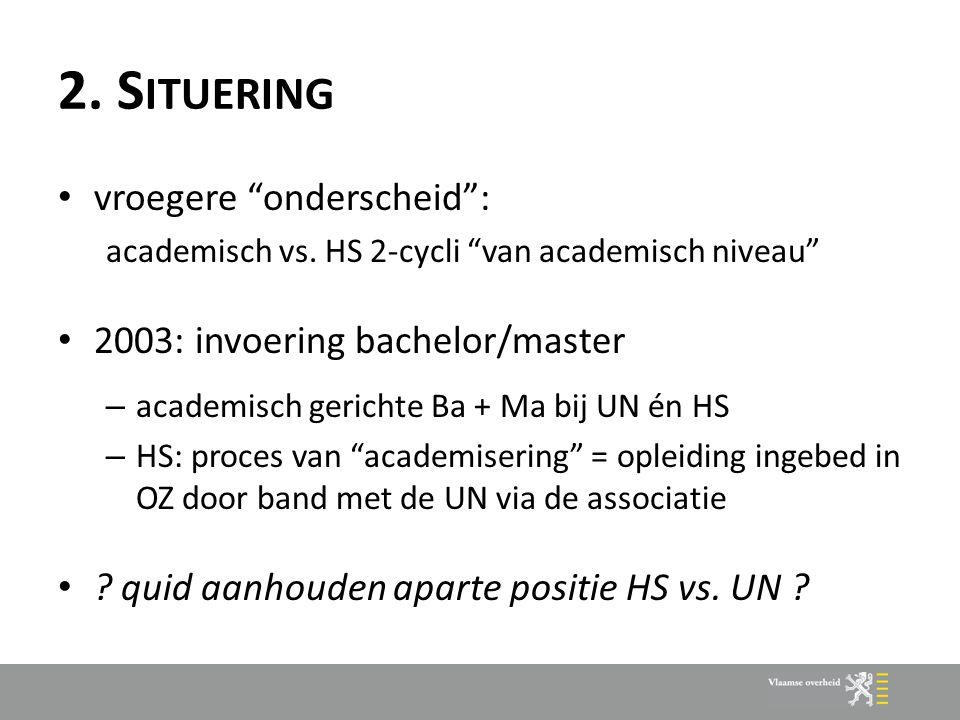 """2. S ITUERING vroegere """"onderscheid"""": academisch vs. HS 2-cycli """"van academisch niveau"""" 2003: invoering bachelor/master – academisch gerichte Ba + Ma"""